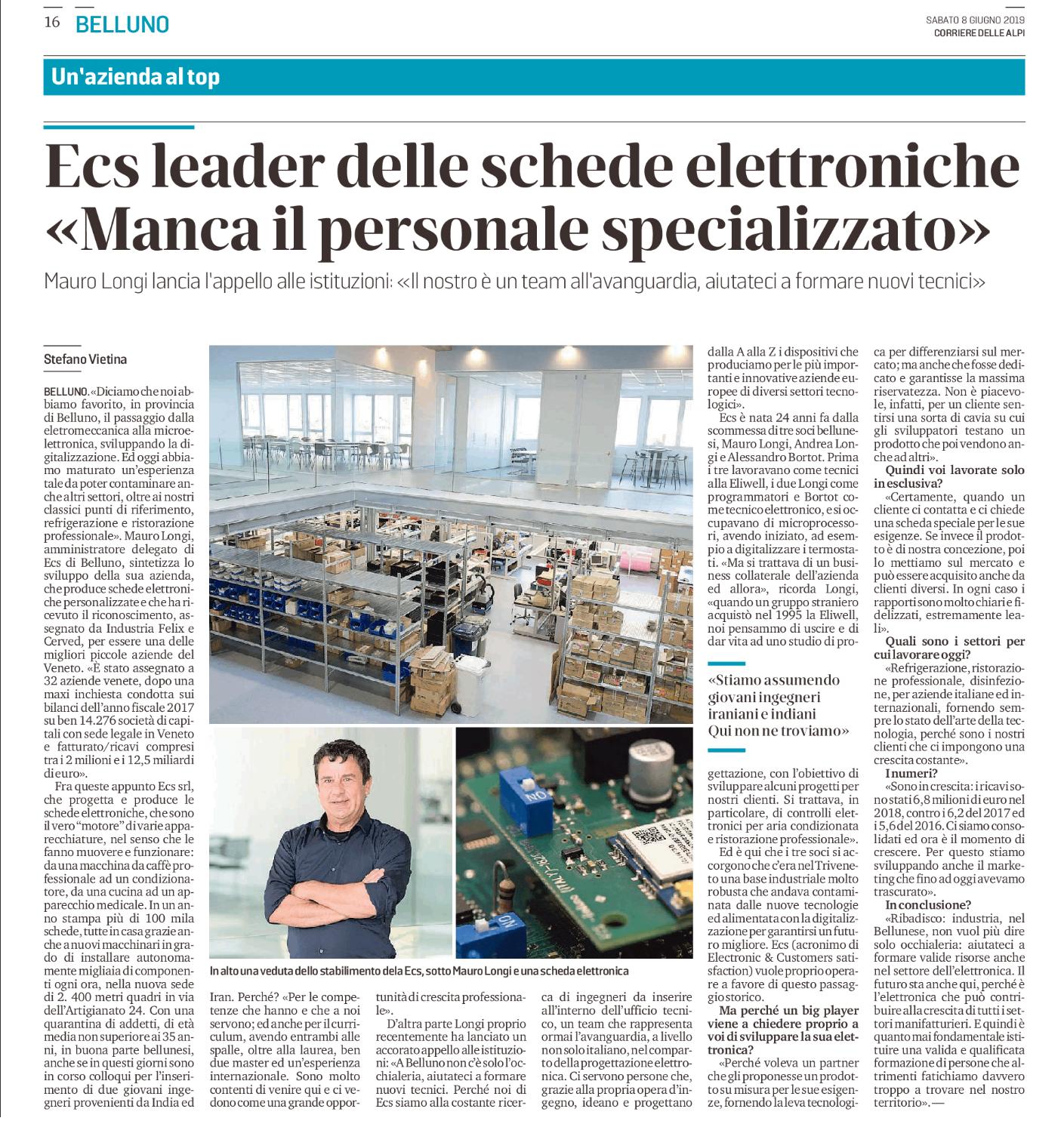 Articolo del Corriere delle Alpi su ECS
